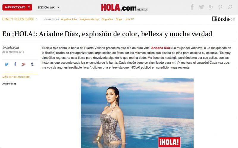 Revista HOLA entrevista a Ariadne Díaz